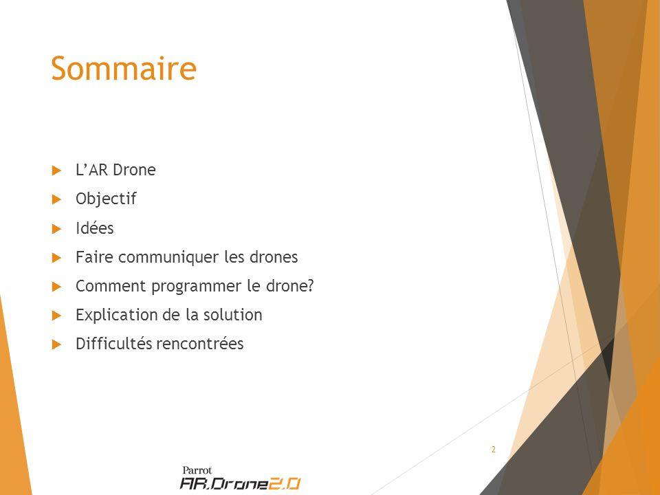 Sommaire  L'AR Drone  Objectif  Idées  Faire communiquer les drones  Comment programmer le drone.