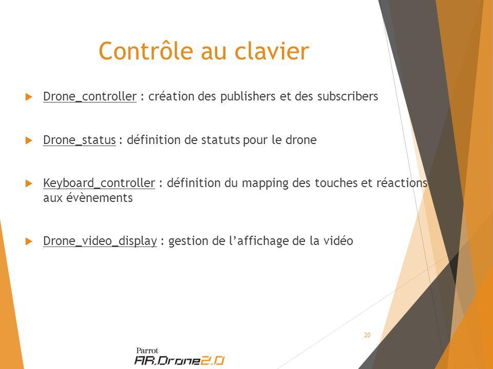 Contrôle au clavier  Drone_controller : création des publishers et des subscribers  Drone_status : définition de statuts pour le drone  Keyboard_controller : définition du mapping des touches et réactions aux évènements  Drone_video_display : gestion de l'affichage de la vidéo 20