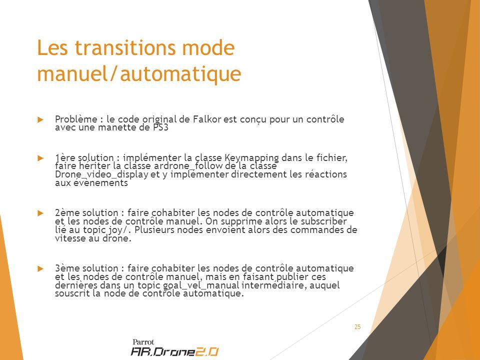 Les transitions mode manuel/automatique  Problème : le code original de Falkor est conçu pour un contrôle avec une manette de PS3  1ère solution : implémenter la classe Keymapping dans le fichier, faire hériter la classe ardrone_follow de la classe Drone_video_display et y implémenter directement les réactions aux évènements  2ème solution : faire cohabiter les nodes de contrôle automatique et les nodes de contrôle manuel.