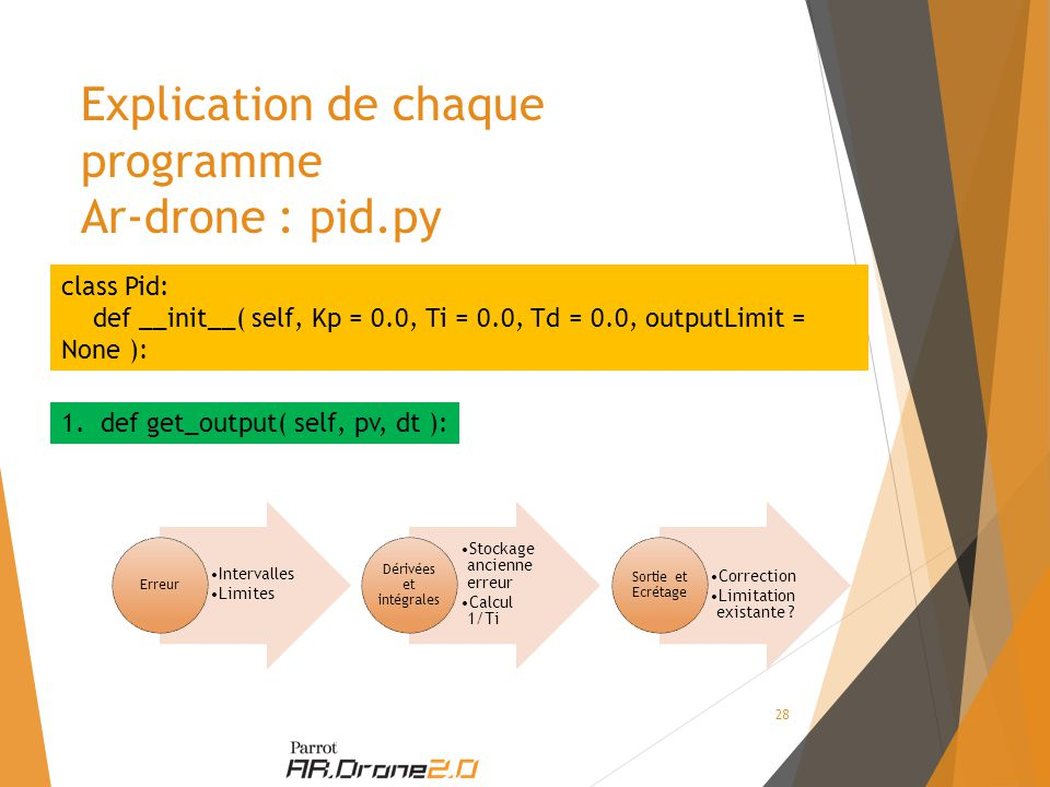Explication de chaque programme Ar-drone : pid.py class Pid: def __init__( self, Kp = 0.0, Ti = 0.0, Td = 0.0, outputLimit = None ): 1.def get_output(