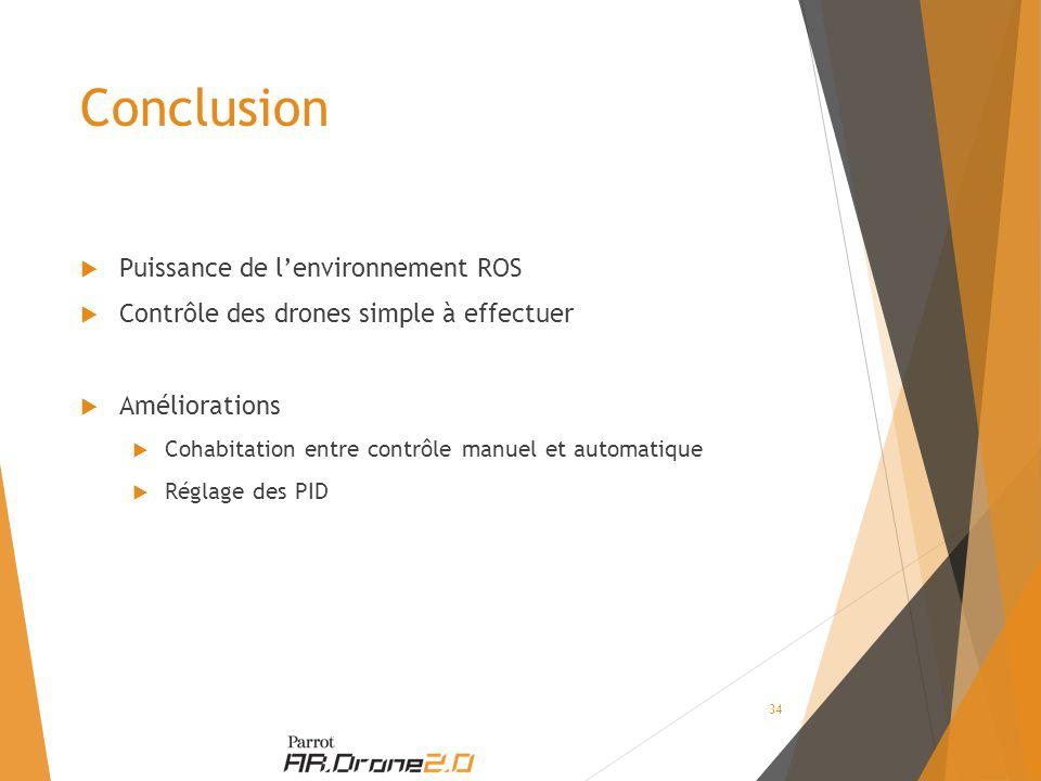 Conclusion  Puissance de l'environnement ROS  Contrôle des drones simple à effectuer  Améliorations  Cohabitation entre contrôle manuel et automatique  Réglage des PID 34