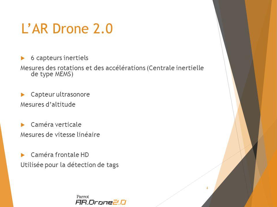 L'AR Drone 2.0  6 capteurs inertiels Mesures des rotations et des accélérations (Centrale inertielle de type MEMS)  Capteur ultrasonore Mesures d'altitude  Caméra verticale Mesures de vitesse linéaire  Caméra frontale HD Utilisée pour la détection de tags 4