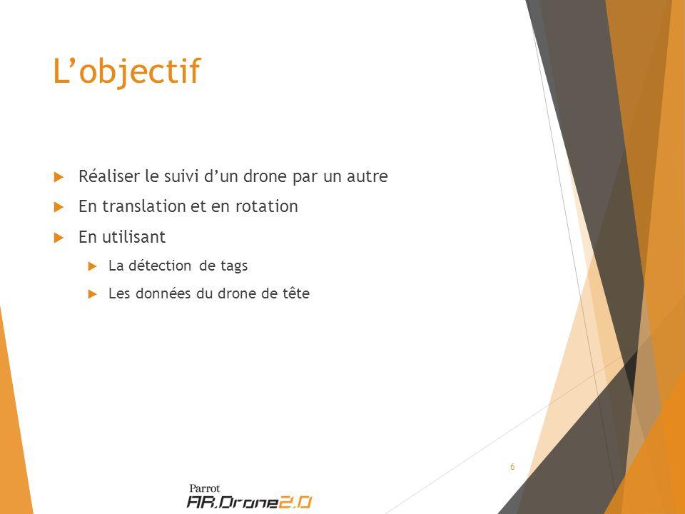 L'objectif  Réaliser le suivi d'un drone par un autre  En translation et en rotation  En utilisant  La détection de tags  Les données du drone de tête 6