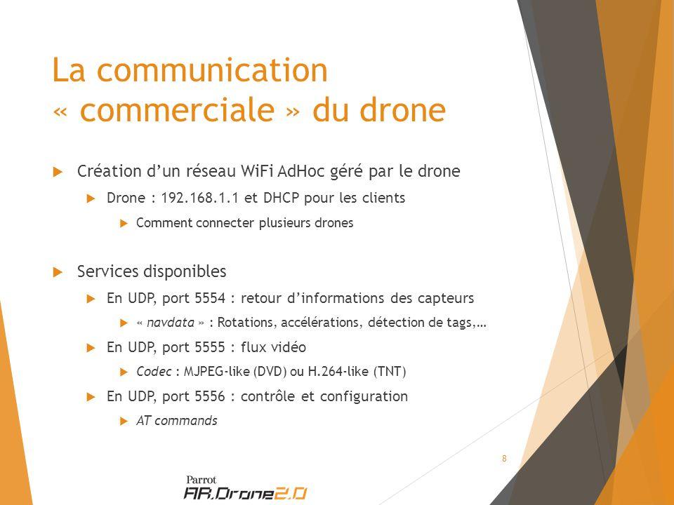  Création d'un réseau WiFi AdHoc géré par le drone  Drone : 192.168.1.1 et DHCP pour les clients  Comment connecter plusieurs drones  Services disponibles  En UDP, port 5554 : retour d'informations des capteurs  « navdata » : Rotations, accélérations, détection de tags,…  En UDP, port 5555 : flux vidéo  Codec : MJPEG-like (DVD) ou H.264-like (TNT)  En UDP, port 5556 : contrôle et configuration  AT commands La communication « commerciale » du drone 8