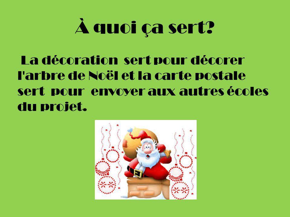 À quoi ça sert? La décoration sert pour décorer l'arbre de Noël et la carte postale sert pour envoyer aux autres écoles du projet.