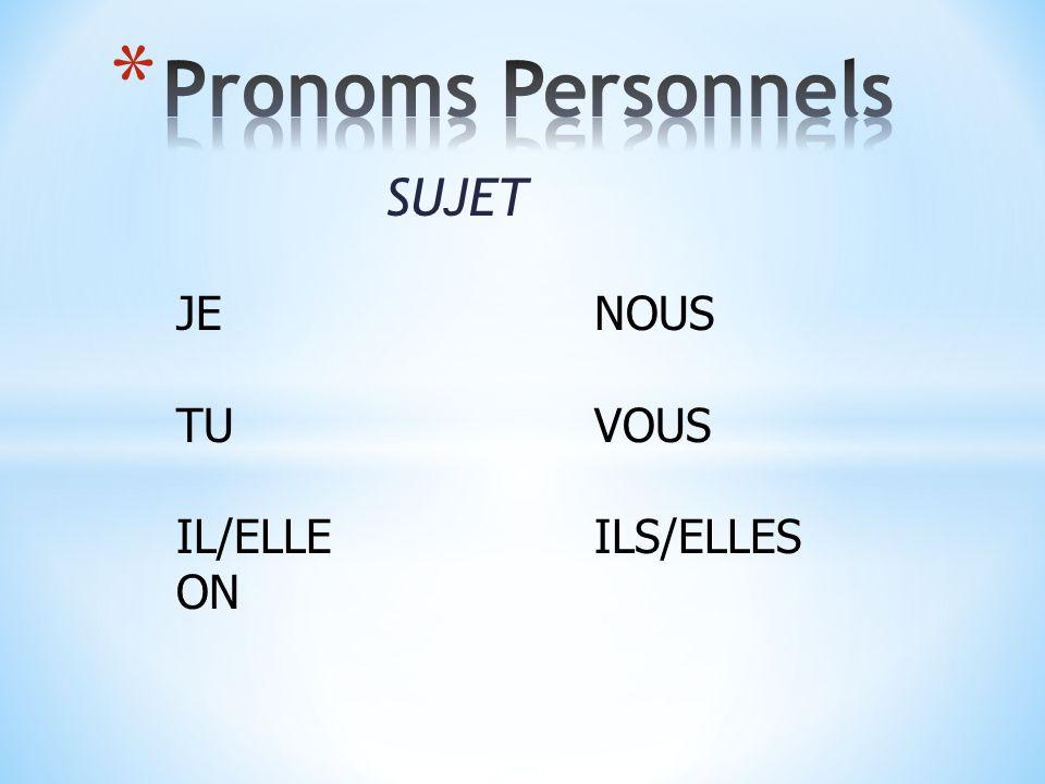 SUJET JENOUS TUVOUS IL/ELLEILS/ELLES ON
