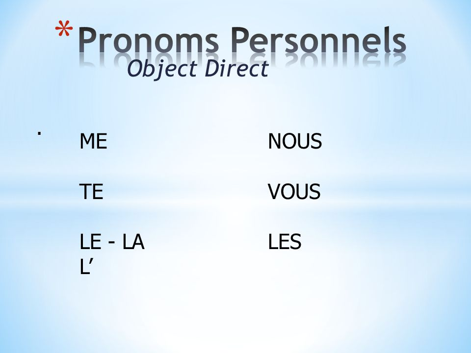 Object Direct. MENOUS TEVOUS LE - LALES L'