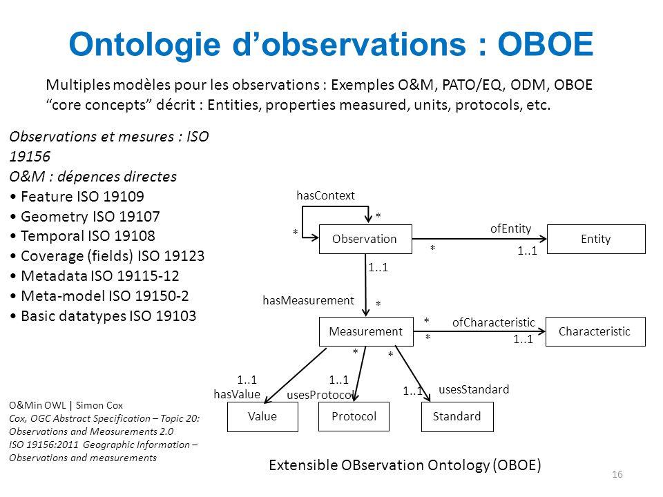 """Ontologie d'observations : OBOE 16 hasValue Multiples modèles pour les observations : Exemples O&M, PATO/EQ, ODM, OBOE """"core concepts"""" décrit : Entiti"""