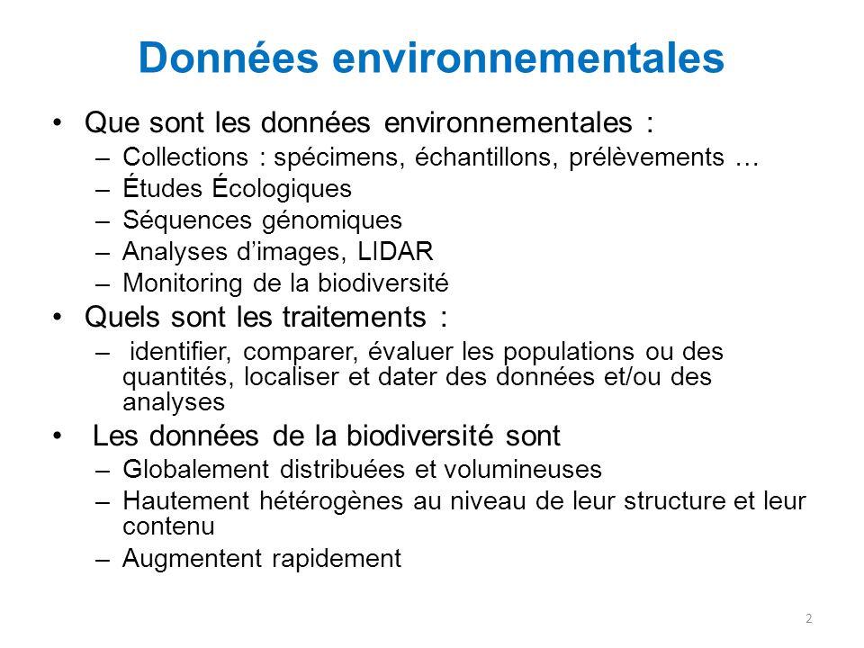Données environnementales Que sont les données environnementales : –Collections : spécimens, échantillons, prélèvements … –Études Écologiques –Séquenc