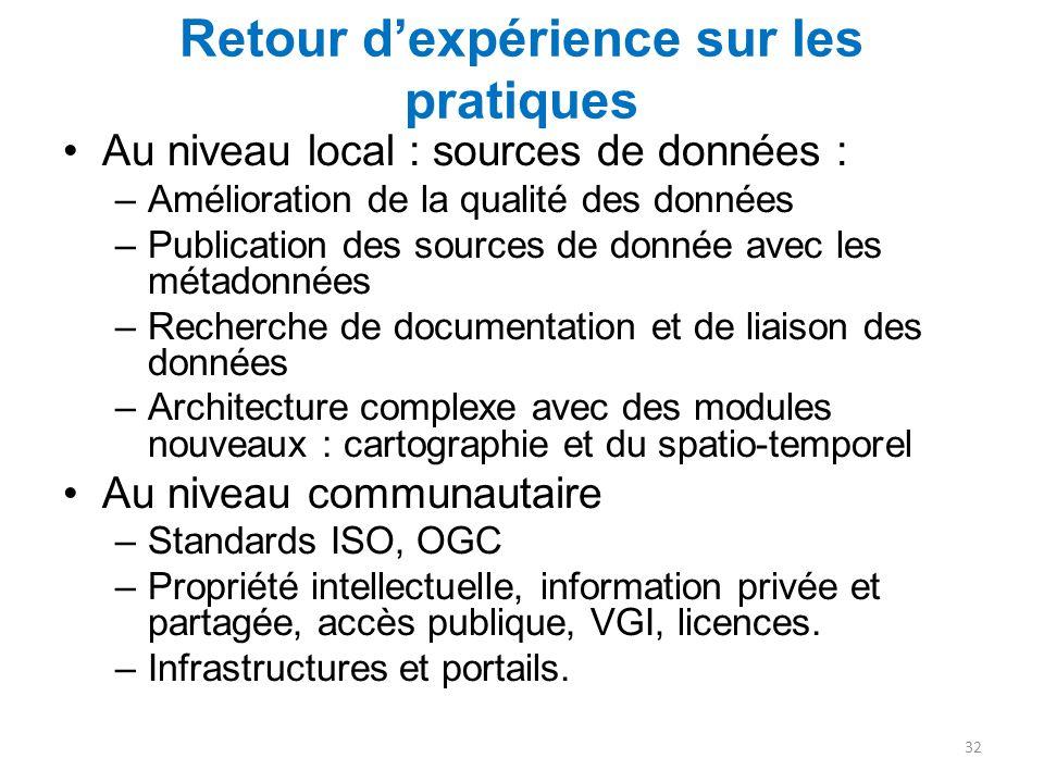 Retour d'expérience sur les pratiques Au niveau local : sources de données : –Amélioration de la qualité des données –Publication des sources de donné