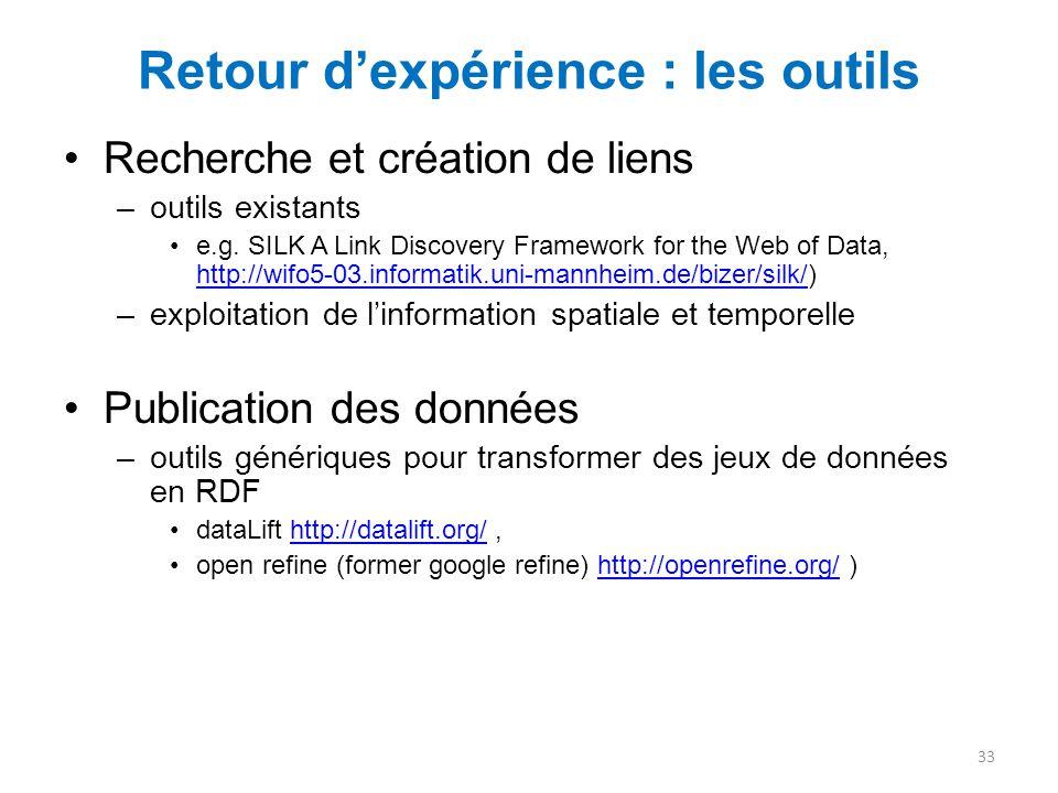 Retour d'expérience : les outils Recherche et création de liens –outils existants e.g. SILK A Link Discovery Framework for the Web of Data, http://wif