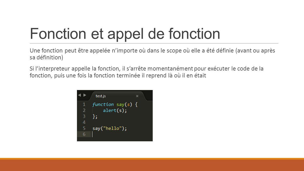 Fonction et appel de fonction Une fonction peut être appelée n'importe où dans le scope où elle a été définie (avant ou après sa définition) Si l'inte