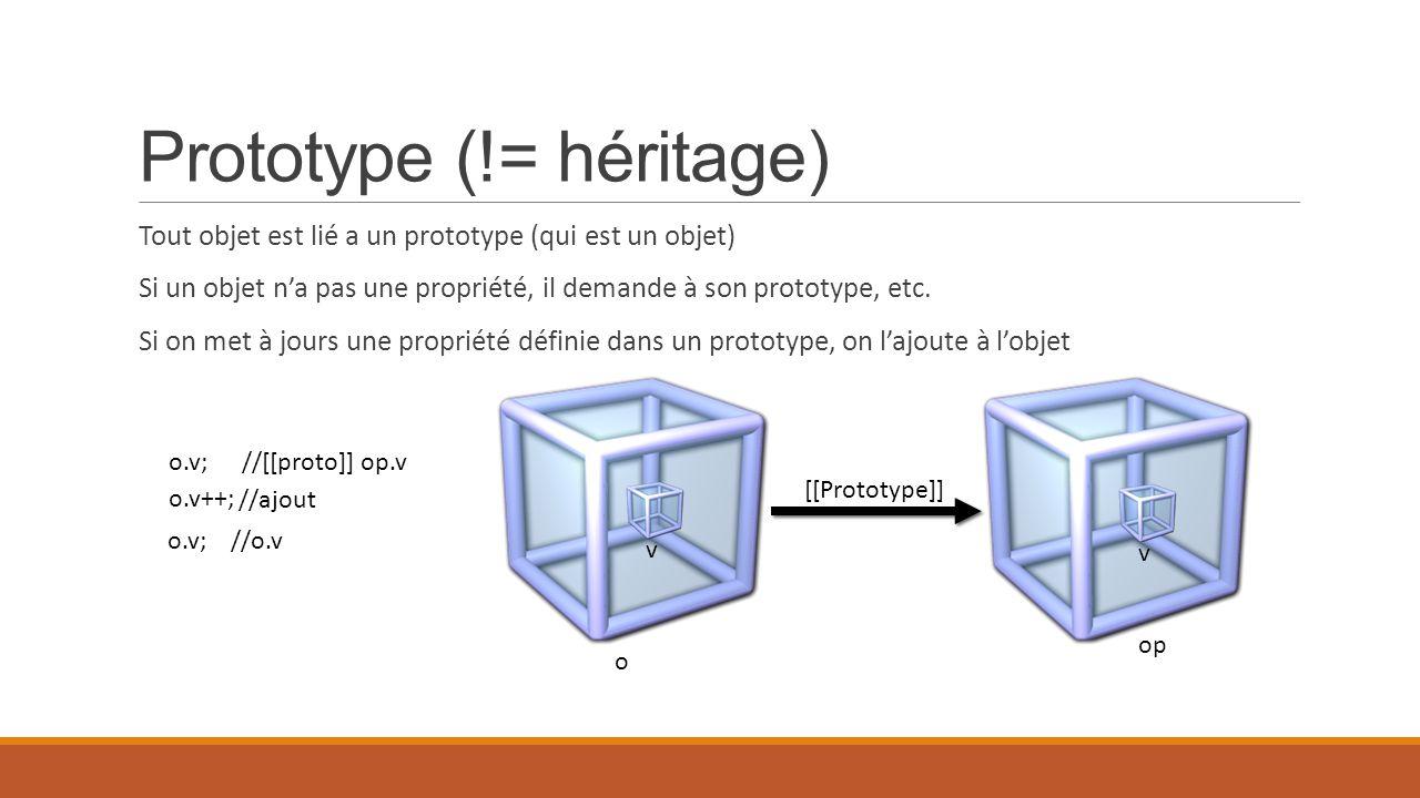 Prototype (!= héritage) Tout objet est lié a un prototype (qui est un objet) Si un objet n'a pas une propriété, il demande à son prototype, etc. Si on