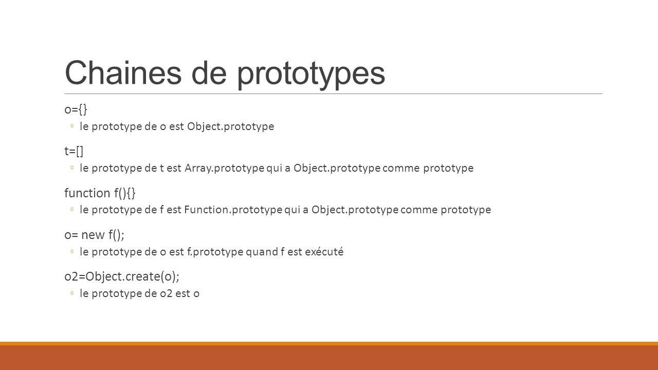 Chaines de prototypes o={} ◦le prototype de o est Object.prototype t=[] ◦le prototype de t est Array.prototype qui a Object.prototype comme prototype
