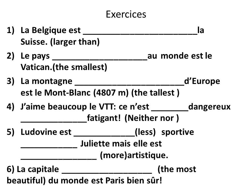 Exercices 1)La Belgique est ________________________la Suisse.
