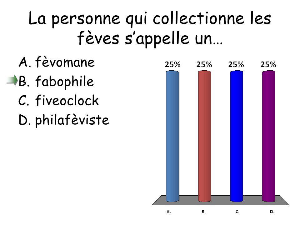 La personne qui collectionne les fèves s'appelle un… A.fèvomane B.fabophile C.fiveoclock D.philafèviste