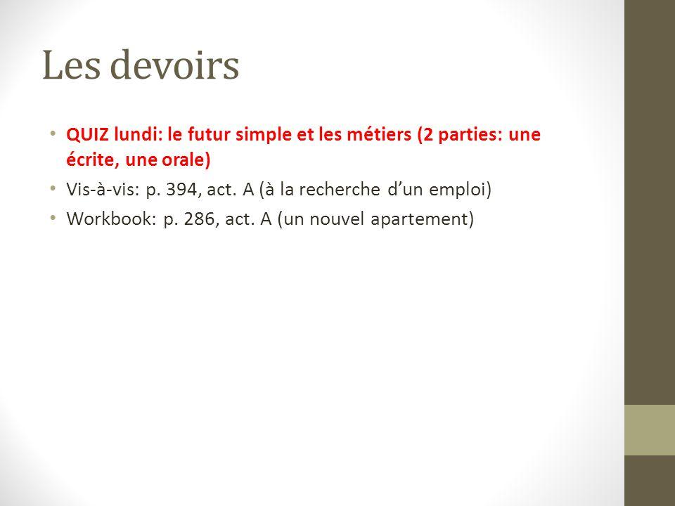 Les devoirs QUIZ lundi: le futur simple et les métiers (2 parties: une écrite, une orale) Vis-à-vis: p. 394, act. A (à la recherche d'un emploi) Workb