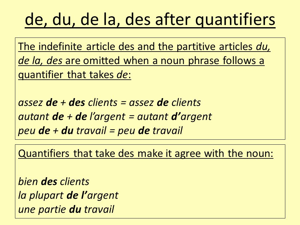 de, du, de la, des after quantifiers The indefinite article des and the partitive articles du, de la, des are omitted when a noun phrase follows a quantifier that takes de: assez de + des clients = assez de clients autant de + de l'argent = autant d'argent peu de + du travail = peu de travail Quantifiers that take des make it agree with the noun: bien des clients la plupart de l'argent une partie du travail