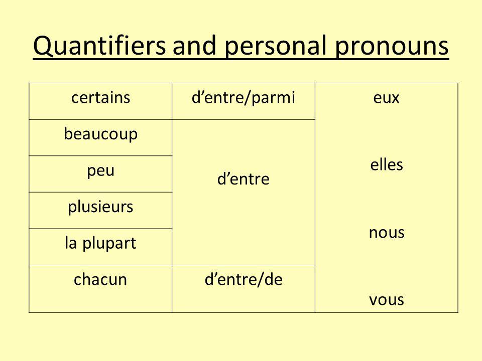 Quantifiers and personal pronouns certainsd'entre/parmieux elles nous vous beaucoup d'entre peu plusieurs la plupart chacund'entre/de