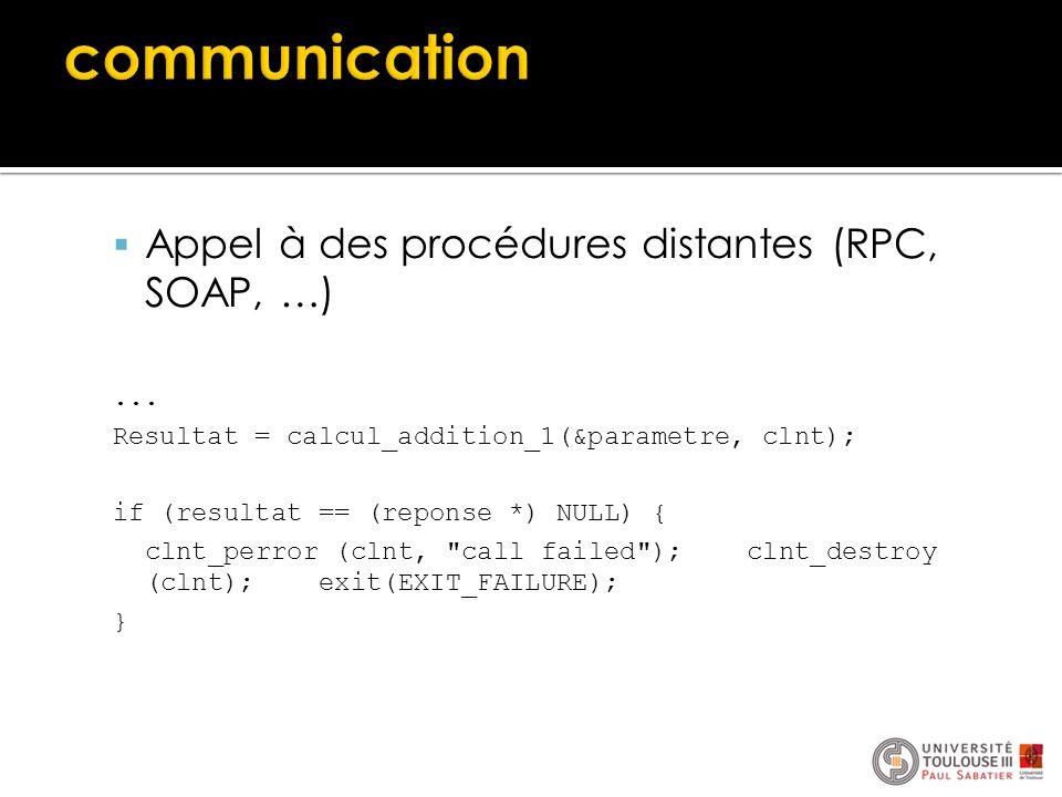  Appel à des procédures distantes (RPC, SOAP, …)... Resultat = calcul_addition_1(&parametre, clnt); if (resultat == (reponse *) NULL) { clnt_perror (