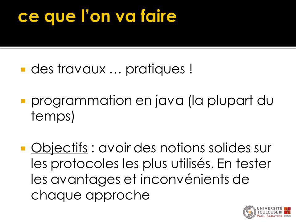  des travaux … pratiques !  programmation en java (la plupart du temps)  Objectifs : avoir des notions solides sur les protocoles les plus utilisés