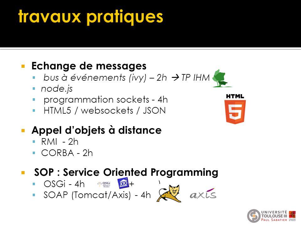  Echange de messages  bus à événements (ivy) – 2h  TP IHM  node.js  programmation sockets - 4h  HTML5 / websockets / JSON  Appel d'objets à dis