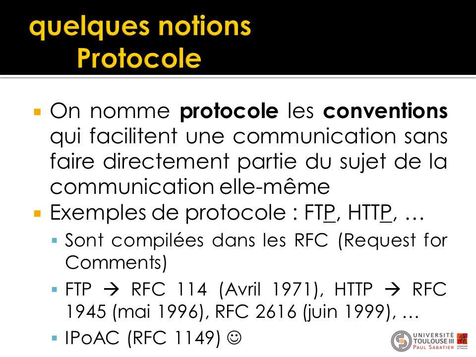  On nomme protocole les conventions qui facilitent une communication sans faire directement partie du sujet de la communication elle-même  Exemples