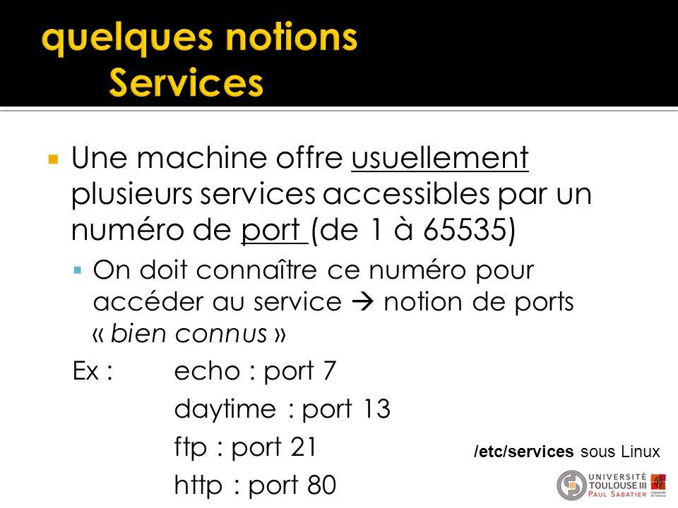  Une machine offre usuellement plusieurs services accessibles par un numéro de port (de 1 à 65535)  On doit connaître ce numéro pour accéder au serv