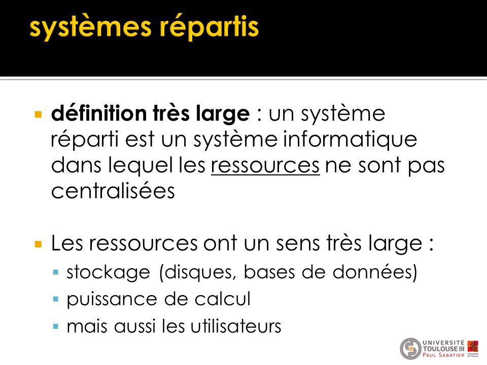  définition très large : un système réparti est un système informatique dans lequel les ressources ne sont pas centralisées  Les ressources ont un s