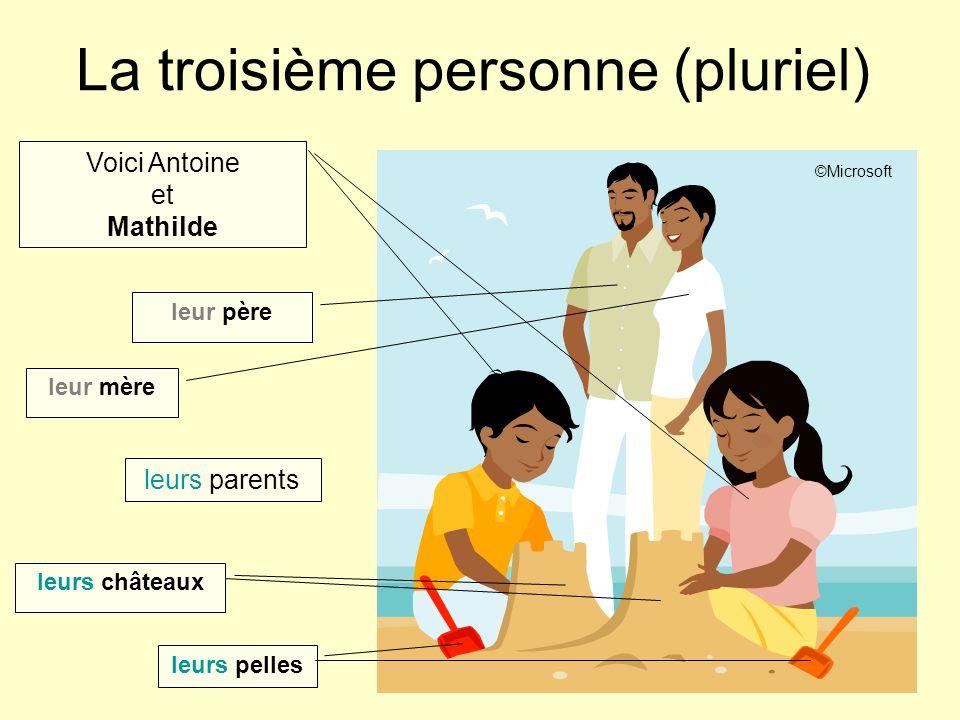La troisième personne (pluriel) Voici Antoine et Mathilde leur père leur mère leurs châteaux leurs parents leurs pelles ©Microsoft