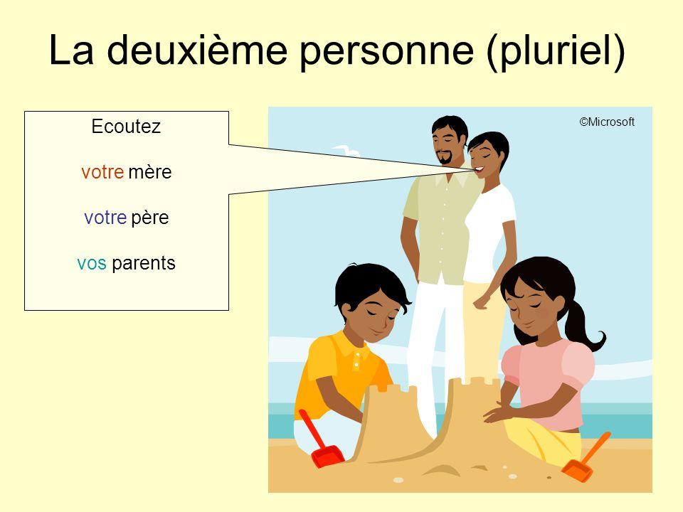 La deuxième personne (pluriel) Ecoutez votre mère votre père vos parents ©Microsoft