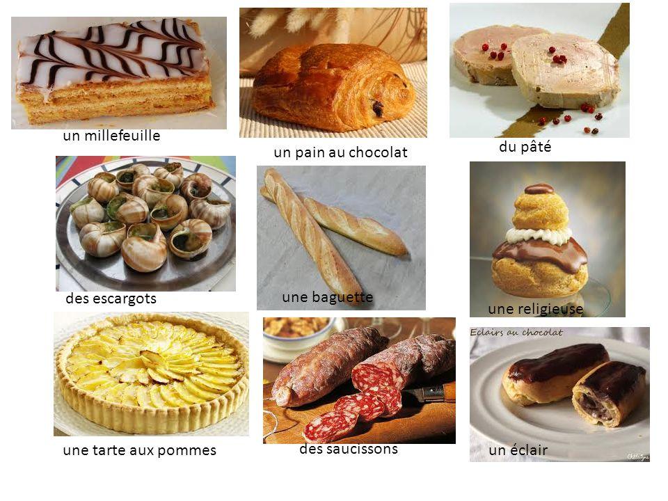 Le petit déjeuner Des tartines Du chocolat chaud Du thé Du café Des céréales De la baguette Du beurre De la confiture Un pain au chocolat Du lait
