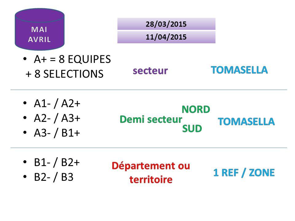 A+ = 8 EQUIPES + 8 SELECTIONS A1- / A2+ A2- / A3+ A3- / B1+ B1- / B2+ B2- / B3 28/03/2015 11/04/2015