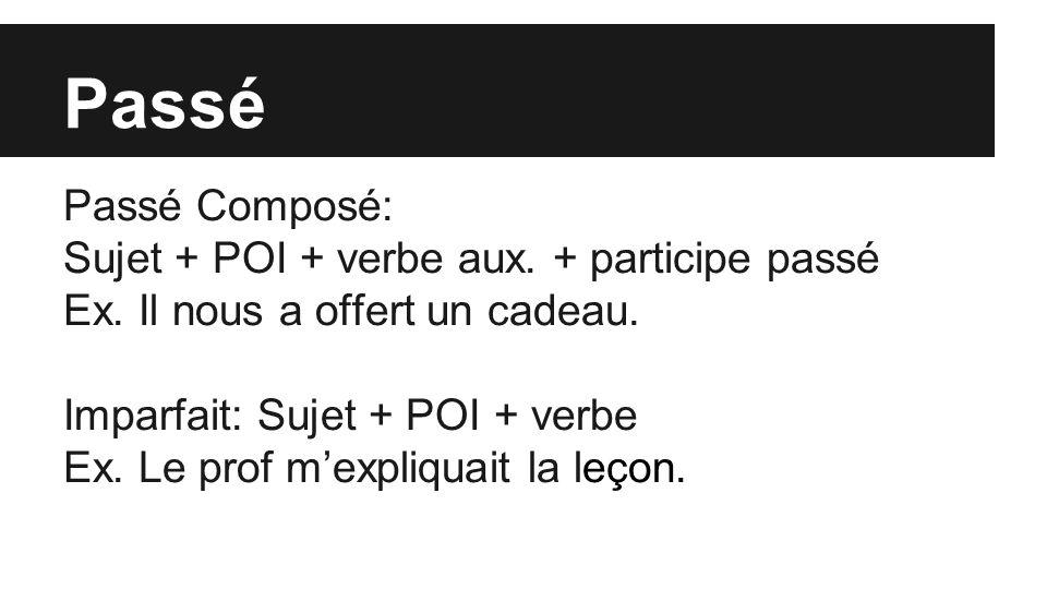 Passé Passé Composé: Sujet + POI + verbe aux. + participe passé Ex.