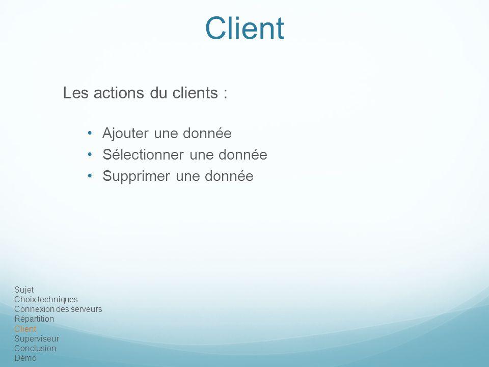 Sujet Choix techniques Connexion des serveurs Répartition Client Superviseur Conclusion Démo Client Les actions du clients : Ajouter une donnée Sélect