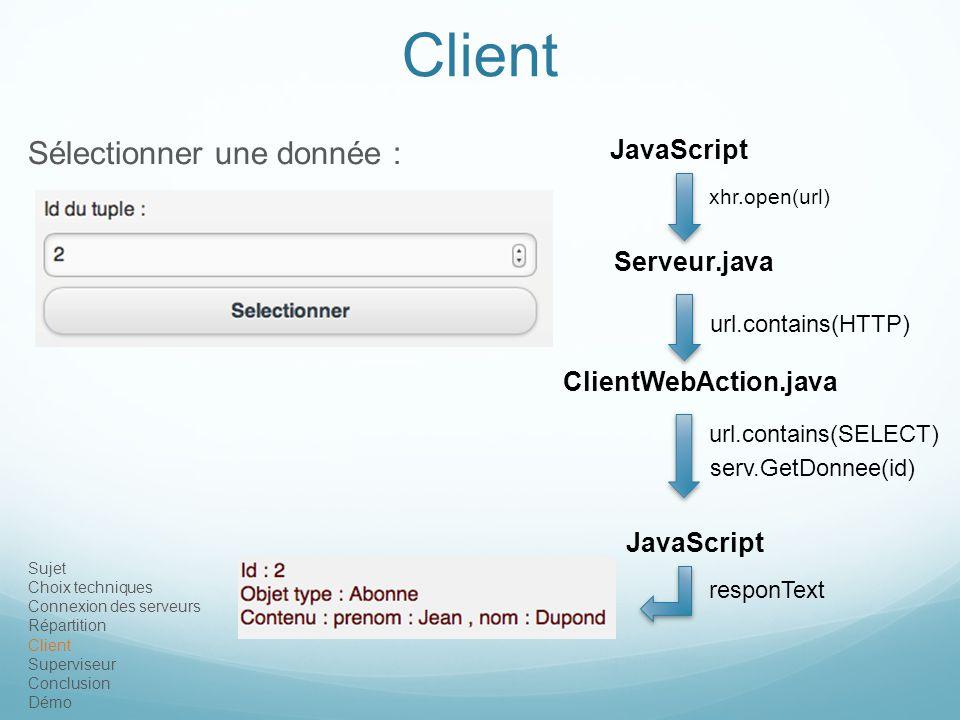 Sujet Choix techniques Connexion des serveurs Répartition Client Superviseur Conclusion Démo Client Sélectionner une donnée : JavaScript Serveur.java