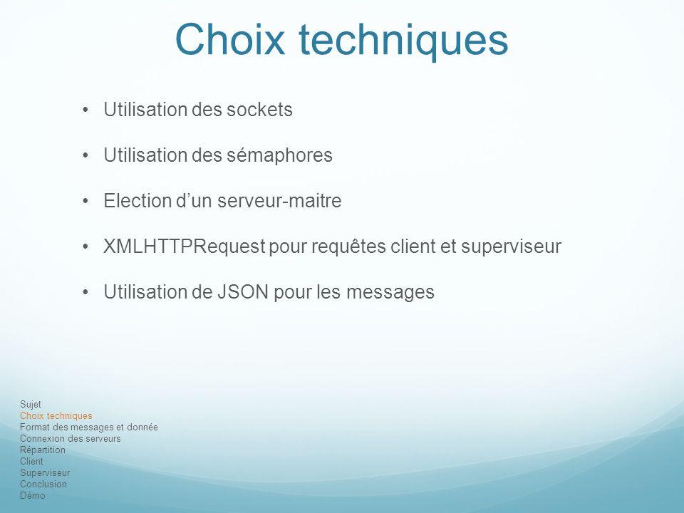 Sujet Choix techniques Format des messages et donnée Connexion des serveurs Répartition Client Superviseur Conclusion Démo Choix techniques Utilisatio