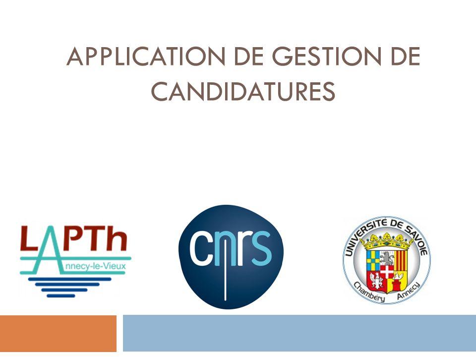 APPLICATION DE GESTION DE CANDIDATURES