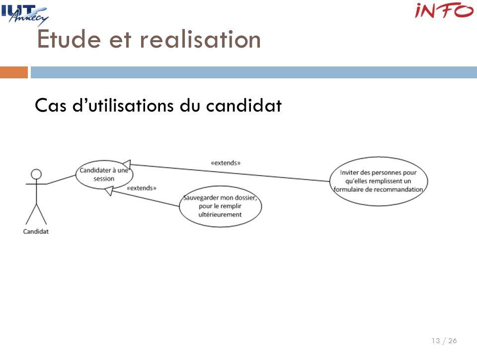 13 / 26 Etude et realisation Cas d'utilisations du candidat