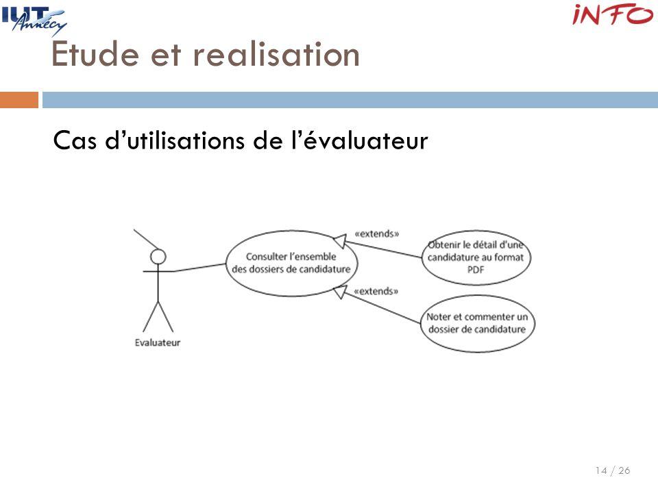 14 / 26 Etude et realisation Cas d'utilisations de l'évaluateur