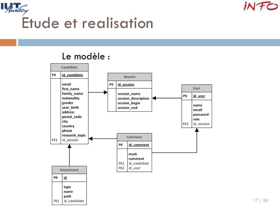 17 / 26 Etude et realisation Le modèle :