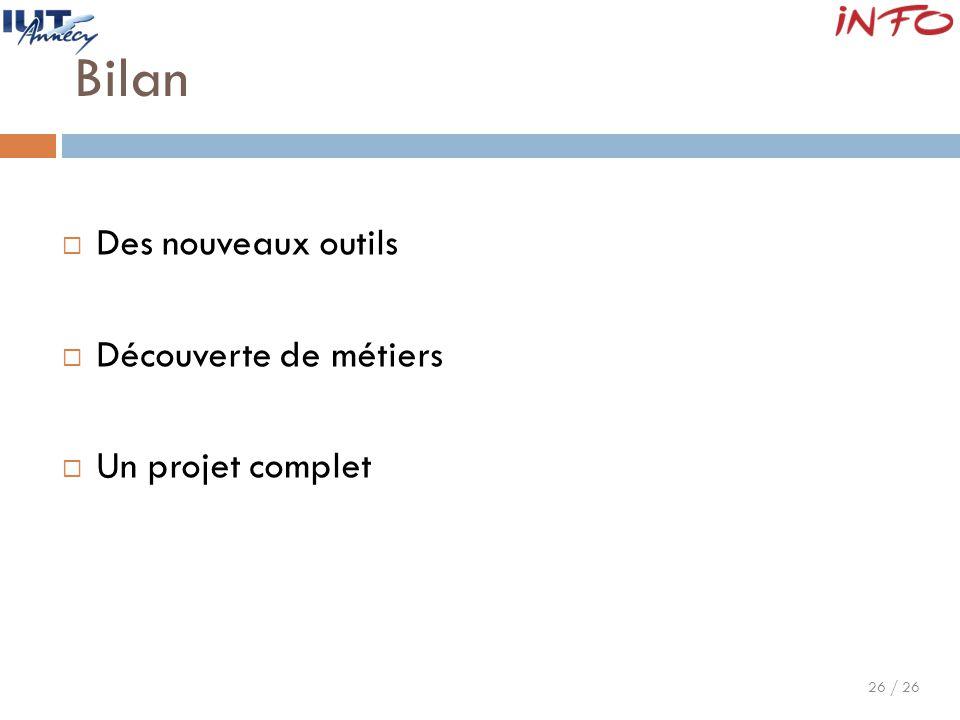 26 / 26 Bilan  Des nouveaux outils  Découverte de métiers  Un projet complet