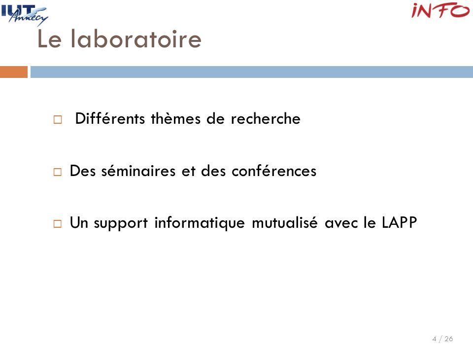 4 / 26 Le laboratoire  Différents thèmes de recherche  Des séminaires et des conférences  Un support informatique mutualisé avec le LAPP