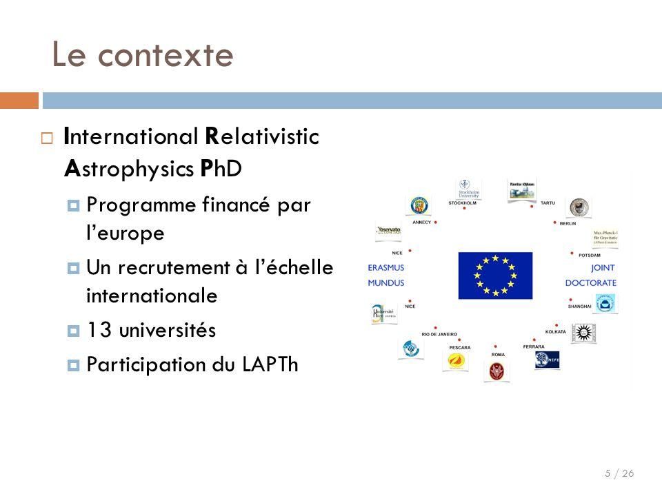 5 / 26 Le contexte  International Relativistic Astrophysics PhD  Programme financé par l'europe  Un recrutement à l'échelle internationale  13 uni