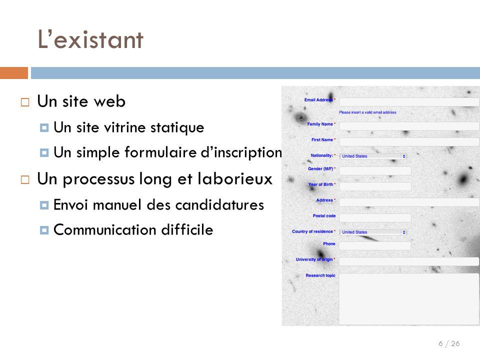 6 / 26 L'existant  Un site web  Un site vitrine statique  Un simple formulaire d'inscription  Un processus long et laborieux  Envoi manuel des ca