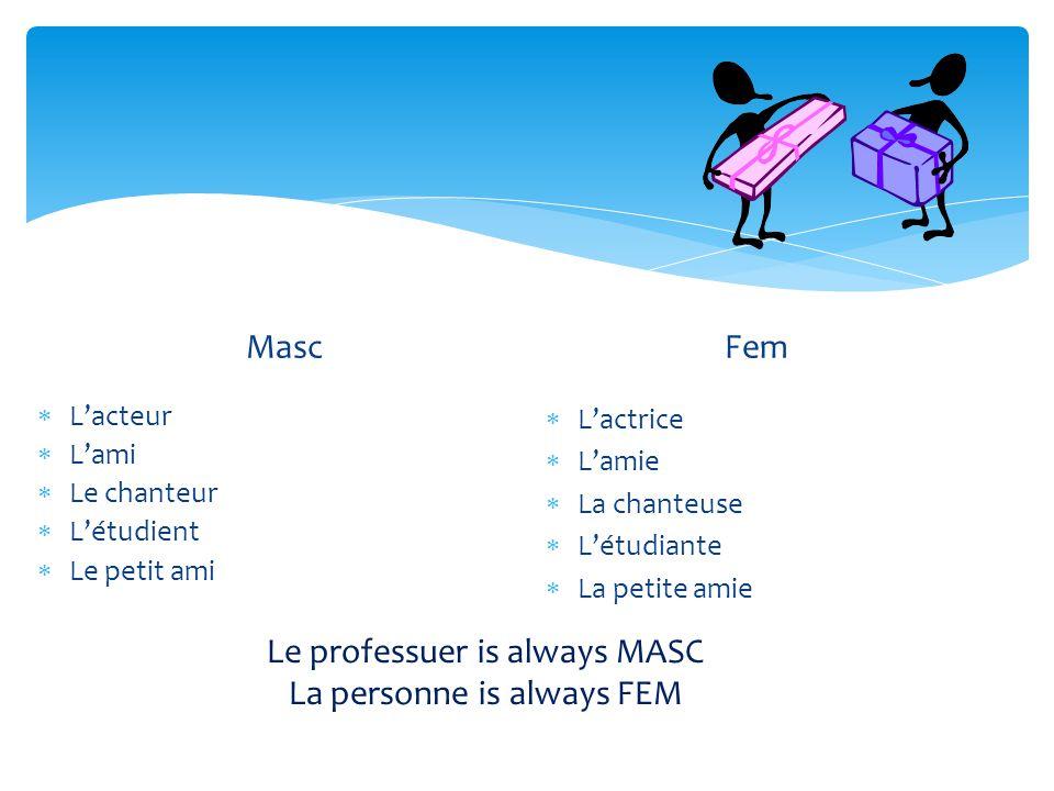 Masc  L'acteur  L'ami  Le chanteur  L'étudient  Le petit ami Fem  L'actrice  L'amie  La chanteuse  L'étudiante  La petite amie Le professuer
