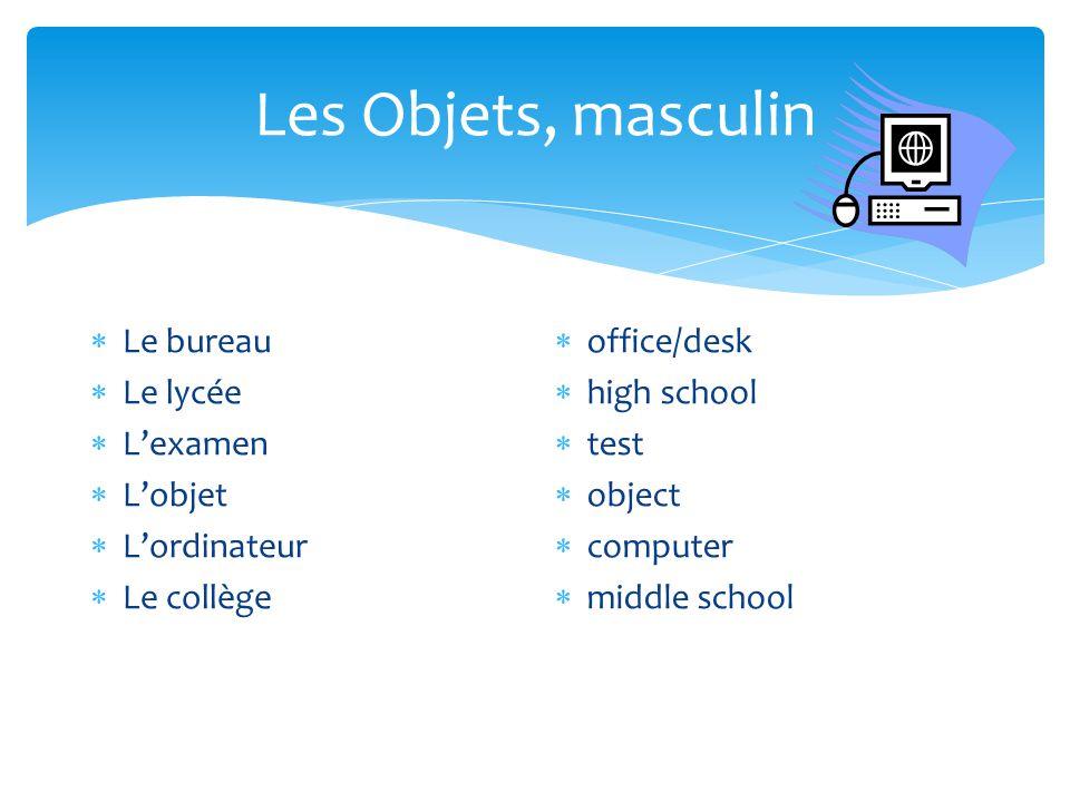 Les Objets, masculin  Le bureau  Le lycée  L'examen  L'objet  L'ordinateur  Le collège  office/desk  high school  test  object  computer 