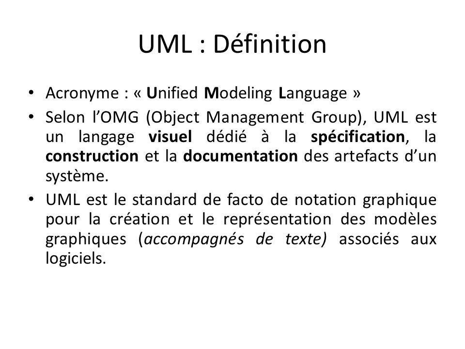 UML : Définition Acronyme : « Unified Modeling Language » Selon l'OMG (Object Management Group), UML est un langage visuel dédié à la spécification, l