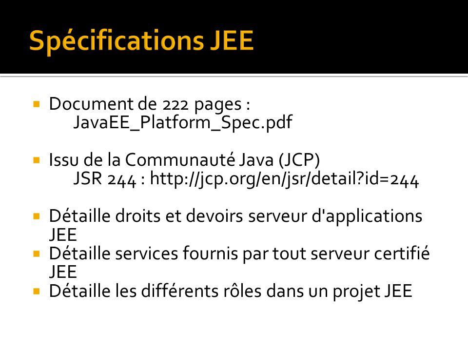 Document de 222 pages : JavaEE_Platform_Spec.pdf  Issu de la Communauté Java (JCP) JSR 244 : http://jcp.org/en/jsr/detail?id=244  Détaille droits