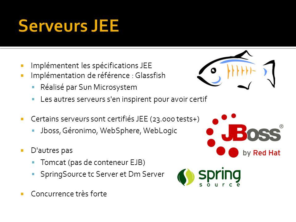  Implémentent les spécifications JEE  Implémentation de référence : Glassfish  Réalisé par Sun Microsystem  Les autres serveurs s'en inspirent pou